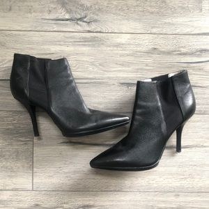Calvin Klein leather pointy toe booties size 9.5